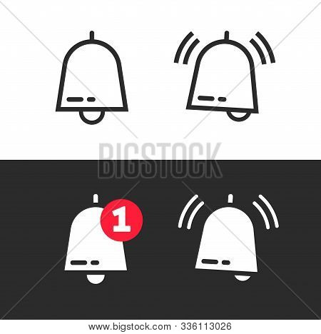 Bell Line Outline Art Icon Or Doorbell Flat Cartoon Alarm Symbol With Alert Notification As Incoming