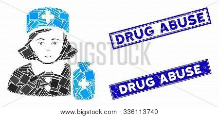 Mosaic Apothecary Lady Pictogram And Rectangular Drug Abuse Rubber Prints. Flat Vector Apothecary La