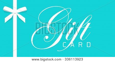 Gift Card Or Or Blue Elegant Voucher Vector Template Design Wrapped With Thin Modern White Elegant G