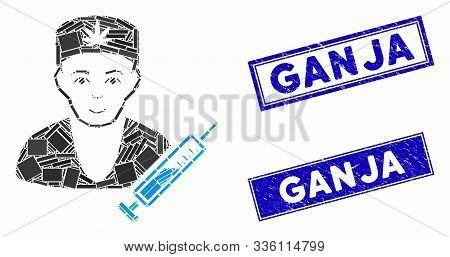 Mosaic Cannabis Doctor Icon And Rectangular Ganja Seal Stamps. Flat Vector Cannabis Doctor Mosaic Pi