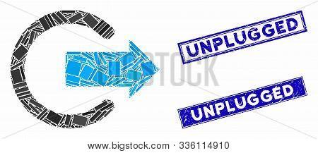 Mosaic Logout Icon And Rectangular Unplugged Stamps. Flat Vector Logout Mosaic Icon Of Random Rotate