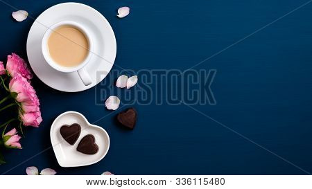 Valentines Day Background With Coffee Cup, Roses Flowers Bouquet, Petals, Heart Shaped Candy, Gift B