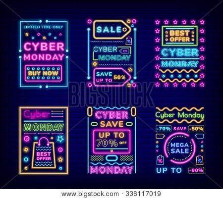Cyber Monday Set Of Discount Cards Vector. Neon Signs And Fonts. Reduction Of Price And Sales For Cl