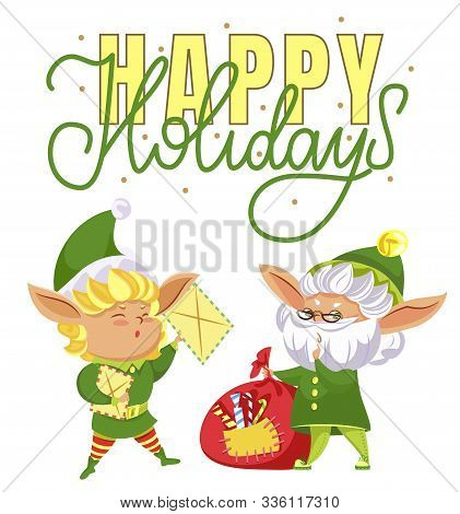 Happy Elves Preparing For Christmas. Happy Holiday Caption, Greeting Card. Fairy Characters Among Re