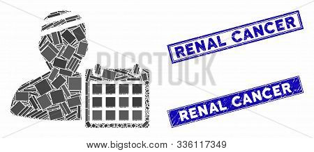 Mosaic Patient Appointment Calendar Icon And Rectangular Renal Cancer Rubber Prints. Flat Vector Pat