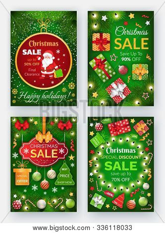 Christmas Sale Propositions At Market Vector. Winter Holidays Discounts At Store. Xmas Promotional B
