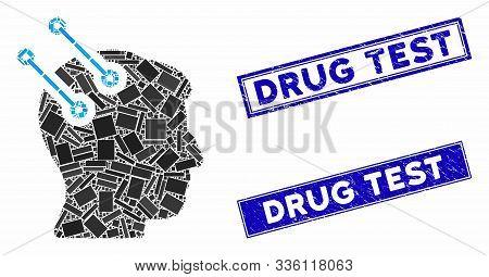 Mosaic Neural Interface Connectors Pictogram And Rectangular Drug Test Rubber Prints. Flat Vector Ne