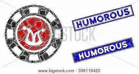 Mosaic Joker Casino Chip Pictogram And Rectangular Humorous Seal Stamps. Flat Vector Joker Casino Ch