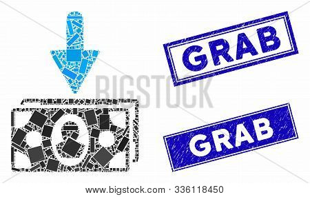 Mosaic Banknotes Income Icon And Rectangular Grab Rubber Prints. Flat Vector Banknotes Income Mosaic