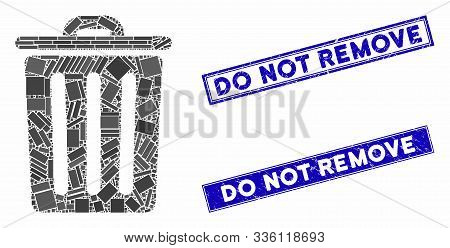 Mosaic Dustbin Icon And Rectangle Do Not Remove Watermarks. Flat Vector Dustbin Mosaic Icon Of Rando