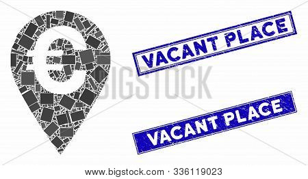Mosaic Euro Map Marker Icon And Rectangle Vacant Place Seals. Flat Vector Euro Map Marker Mosaic Ico