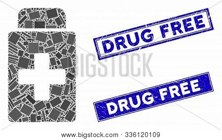 Mosaic Treatment Vial Pictogram And Rectangle Drug Free Seal Stamps. Flat Vector Treatment Vial Mosa