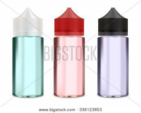 Dropper Bottle Mock Up. E Liquid Vapour Packaging Blank. Vape Smoke Dropper Container Mockup. Realis