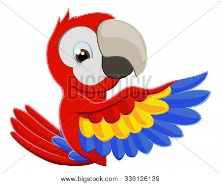 Cute Cartoon Parrot Mascot Peeking Around A Sign And Pointing With A Wing