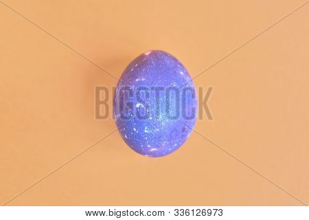Cosmic Galactic Easter Egg On Yellow Pastel Background