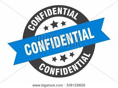 Confidential Sign. Confidential Blue-black Round Ribbon Sticker