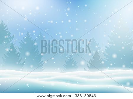 Magic Winter Landscape With Snow Covered Christmas Trees. Merry Christmas And Happy New Year Templat