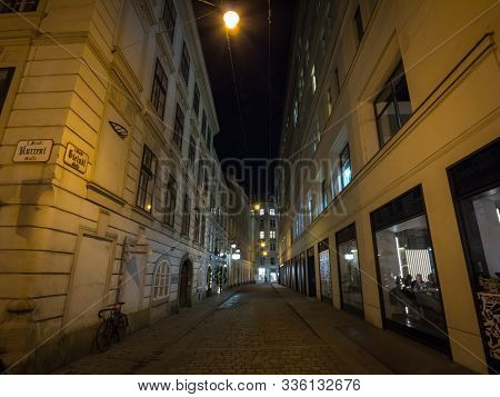 Vienna, Austria - November 6, 2019: Teindlgasse Street, A Typical Narrow Street Of Innere Stadt, The