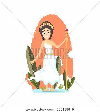 Ancient Greek Mythological Goddess Hera Vector Cartoon Illustration