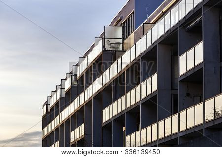 Balconies Of A Concrete Condominium With Glass Balustrades In Rotterdam Prinsenland In The Netherlan