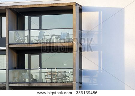 Balconies Of A Concrete Condominium With Glass Balustrades In Rotterdam Prinsenland In The  Netherla