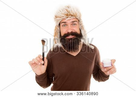 Man Bearded Fashion Stylist Wear Hat Hold Brush For Applying Makeup. Eccentric Guy With Beard. Makeu