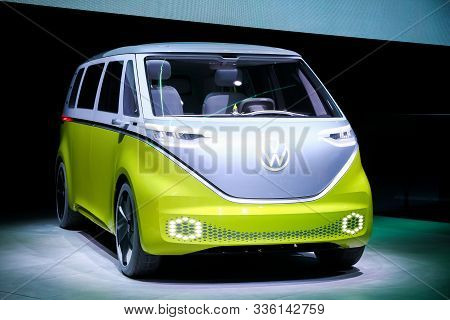 Frankfurt Am Main, Germany - September 17, 2019: Electric Visionary Van Volkswagen I.d.buzz Presente