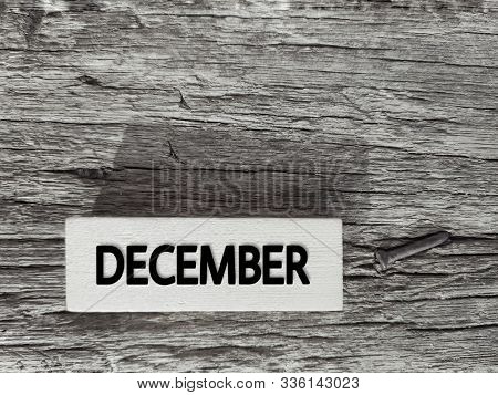 Month Of December On Wooden Blocks Stock Photo