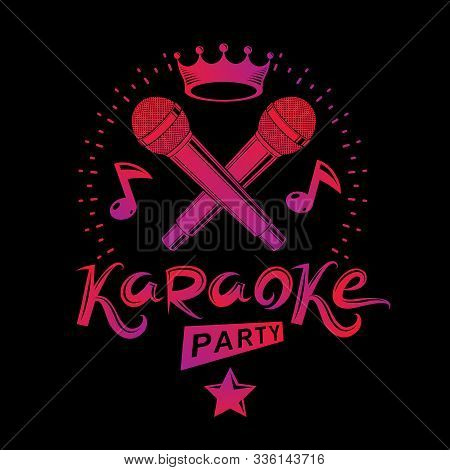 Karaoke Party Promotion Poster Design Composed Using Musical Notes And Pentagonal Star. Rap Battle C