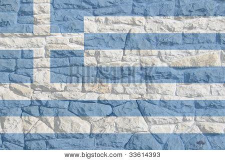Greek Flag on Rock Wall