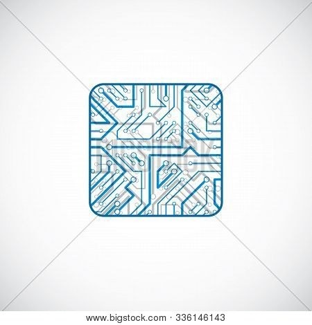 Vector Microchip Design, Cpu. Information Communication Technology Element, Blue Circuit Board In Th