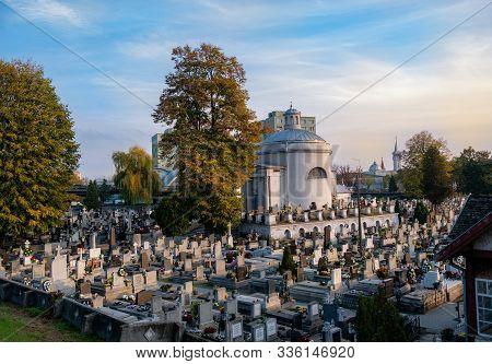 Satu Mare, Romania - November 12, 2019: Panoramic View Of Christian Orthodox Cemetery Autumn Season