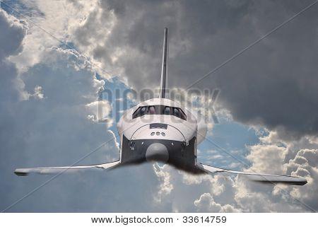 spacecraft  in clouds