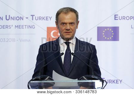 Varna, Bulgaria - March 26, 2018: European Council President Donald Tusk Attends A News Conference A