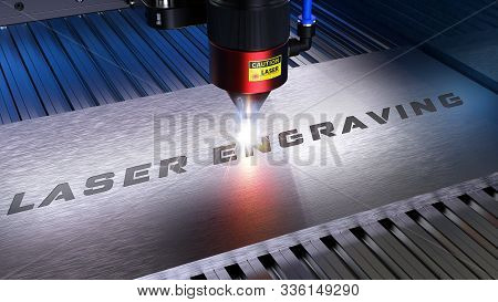 Metal Machining With Sparks On Cnc Laser Engraving Maching. 3d Rendering