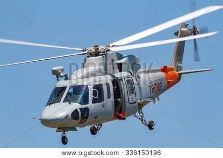 Motril, Granada, Spain-jun 17: Helicopter Sikorsky S-76c Taking Part In An Exhibition On The 13th In