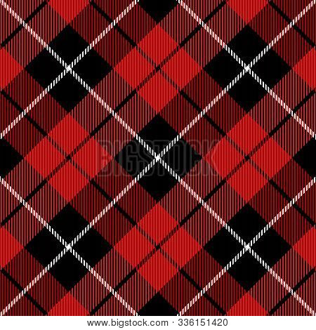 Christmas And New Year Tartan Plaid. Scottish Diagonal Pattern In Black, Red And White Cage. Scottis