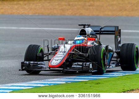 Jerez De La Frontera, Spain - Feb 03:  Fernando Alonso Of Mclaren Honda F1 Races On Training Session