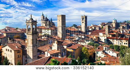 Travel and landmarks of northern Italy - medieval Bergamo. Panoramic view of old town