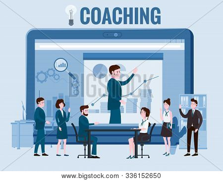 Business Coaching, People Man And Woman Training Talking, Discussing. With Big Laptop Notebook Chart