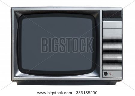 Old Crt Tube Tv Set Isolated On White Background