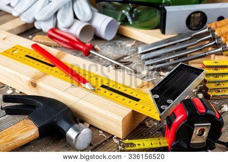 Carpenter's Work Tools. Carpentry.