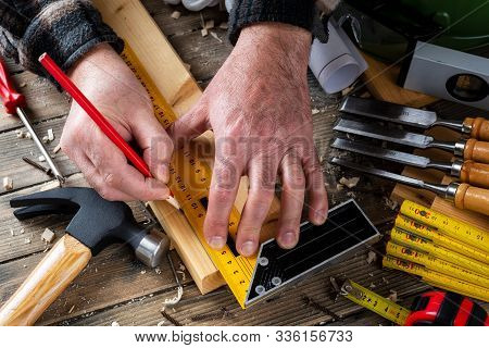 Craftsman At Work On Wooden Boards. Carpentry.