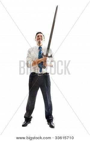 Happy Businessman With Sword