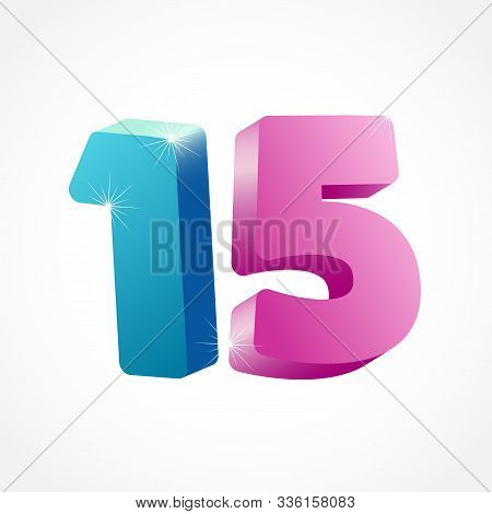 15 Th Anniversary Numbers. 15 Years Old Coloured Logotype. Age Congrats, Congratulation Idea. Isolat