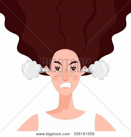 A Young Woman With Steam Coming Out Of Her Ears. An Angry And Dissatisfied Girl Experiences Stress,