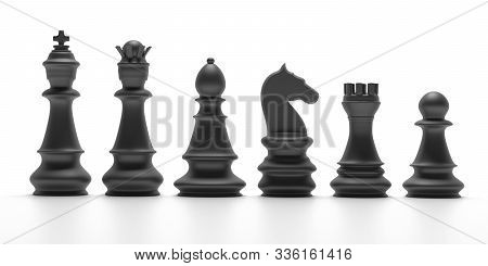 Chess Black Pieces Isolated On White Background. 3D Illustration