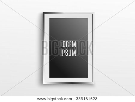 A3, A4 Vertical Blank Picture Frame For Photographs. Isolated Picture Frame Mockup Template On Gray