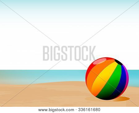 A Sand And Surf Shoreline With A Multi Color Beachball In The Forfront