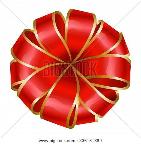 Ribbon Bow In Red And Golden Colors. Silk Tape Made In Rounded Shape. Isolated Icon For Present Boxe